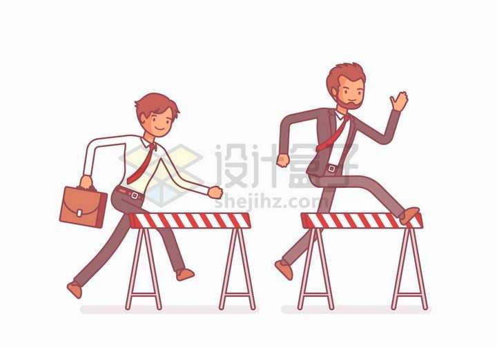 两个跨栏的商务人士象征了商业竞争彩绘插画png图片免抠矢量素材