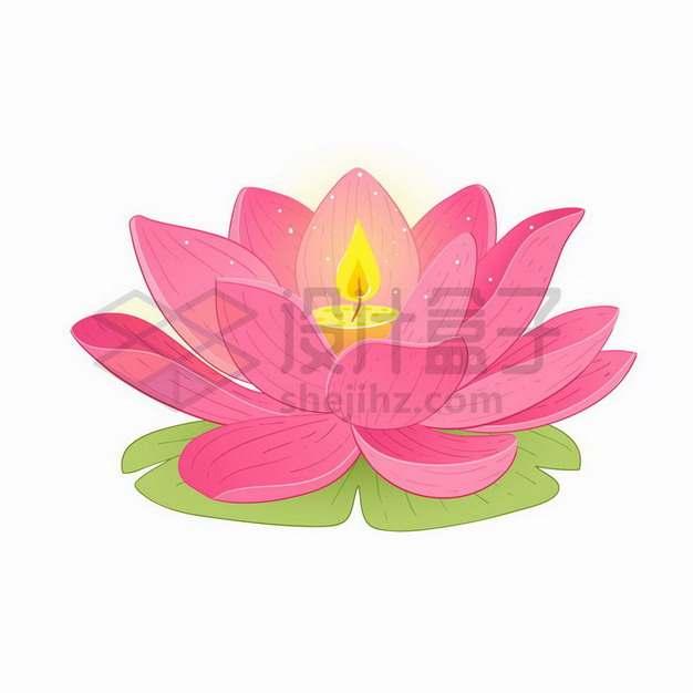 盛开的粉色莲花荷花中间燃烧的蜡烛png图片免抠矢量素材