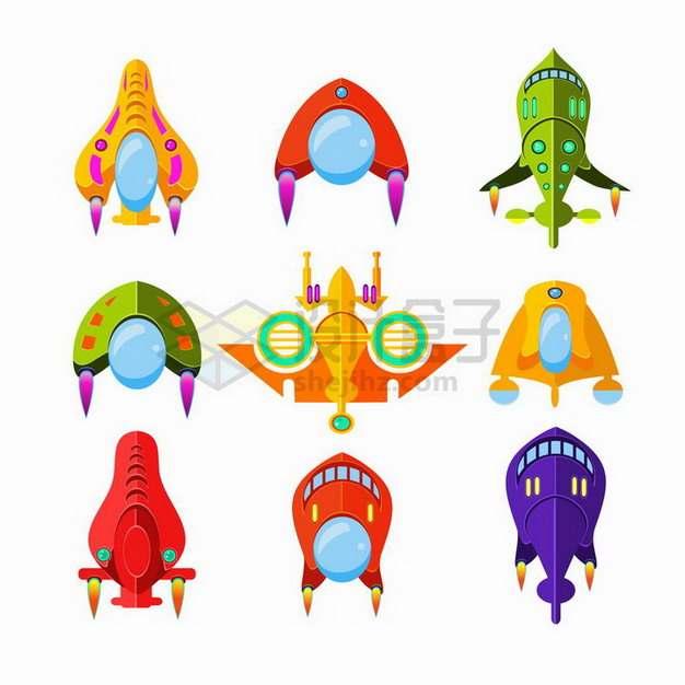 9款卡通火箭宇宙飞船飞碟等游戏道具png图片免抠矢量素材