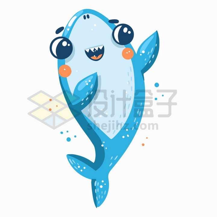 跳舞的蓝色卡通鲨鱼png图片免抠矢量素材