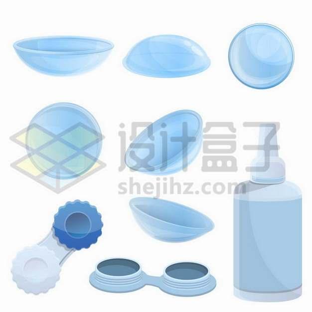 蓝色的隐形眼镜和盒子药水护理液png图片免抠矢量素材