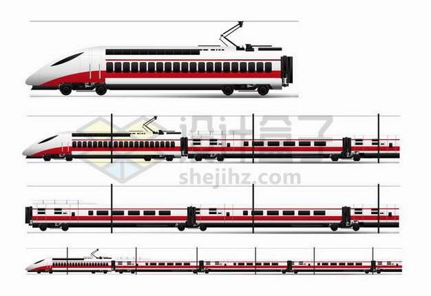 4款红白相间的高铁动车列车车厢侧视图png图片免抠矢量素材