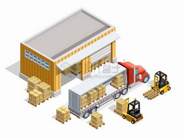 2.5D风格仓库前叉车搬运货物到载重卡车等快递物流运输工具png图片免抠矢量素材