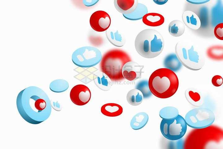 3D立体点赞喜欢等社交元素按钮png图片免抠矢量素材