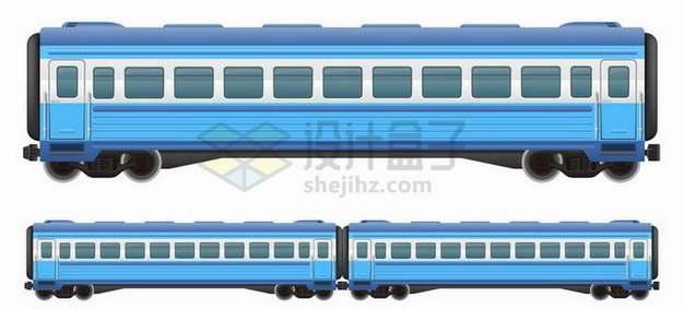 蓝色涂装的火车列车车厢png图片免抠矢量素材