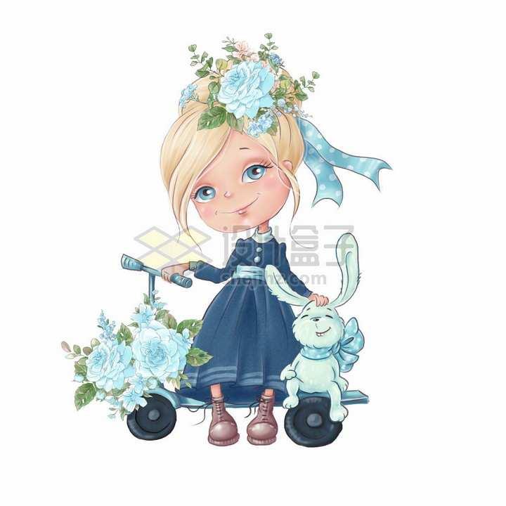 卡通女孩单车蓝色玫瑰花和小兔子水彩插画png图片素材