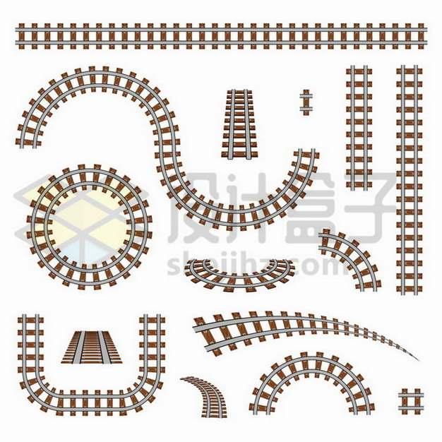 各种弯曲形状的铁路铁轨png图片免抠矢量素材
