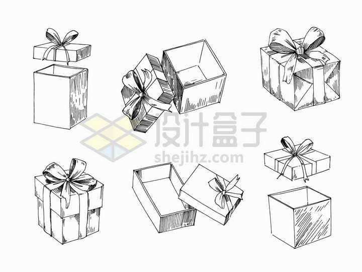 6款包装好的礼物盒手绘素描插画png图片免抠矢量素材