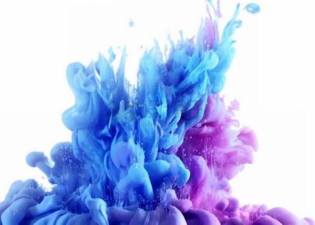 蓝色紫色烟雾浓烟浑浊液效果装饰png图片素材