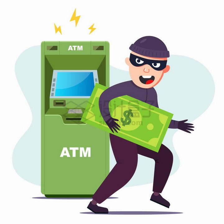 卡通小偷正在偷取银行ATM取款机里面的钱png图片免抠矢量素材