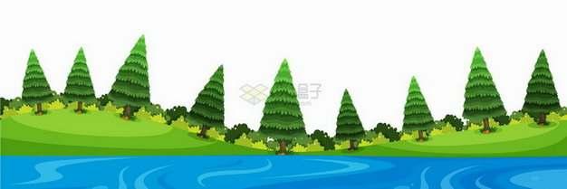春天夏天近处的池塘和远处的青草地以及雪松树乡村风景插画png图片免抠矢量素材