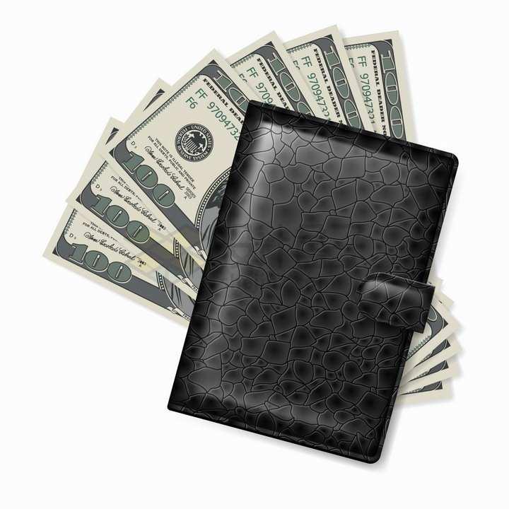 逼真的黑色鳄鱼皮钱包和美元钞票png图片免抠矢量素材