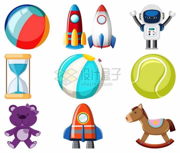 卡通玩具球小火箭机器人沙漏小熊木马等玩具png图片素材