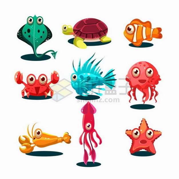 卡通魔鬼鱼海龟小丑鱼螃蟹章鱼龙虾乌贼海星等水族馆动物png图片免抠矢量素材
