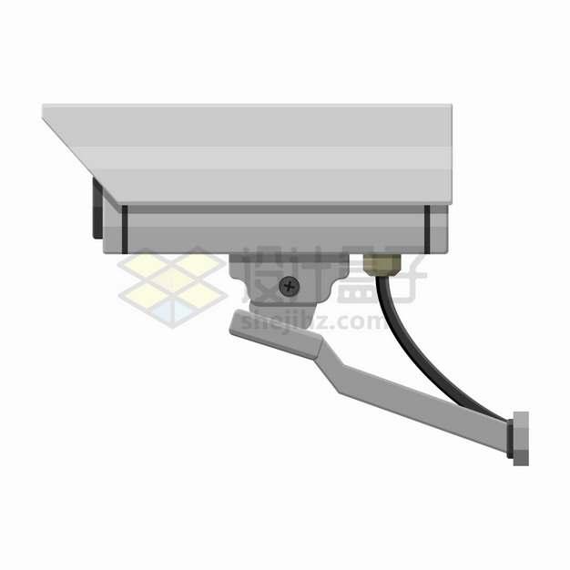 一款银灰色的监控摄像头监控设备侧视图png图片素材