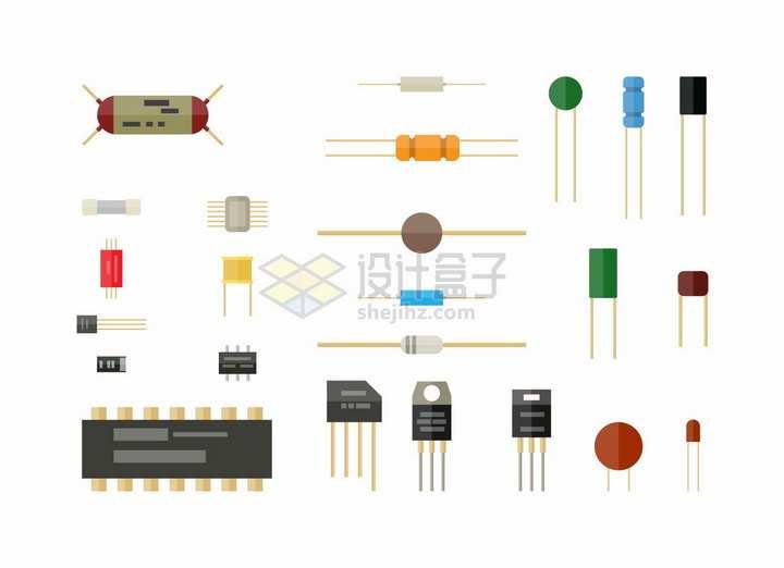 扁平化风格二极管三极管电容电阻电感等模拟电路元器件png图片素材