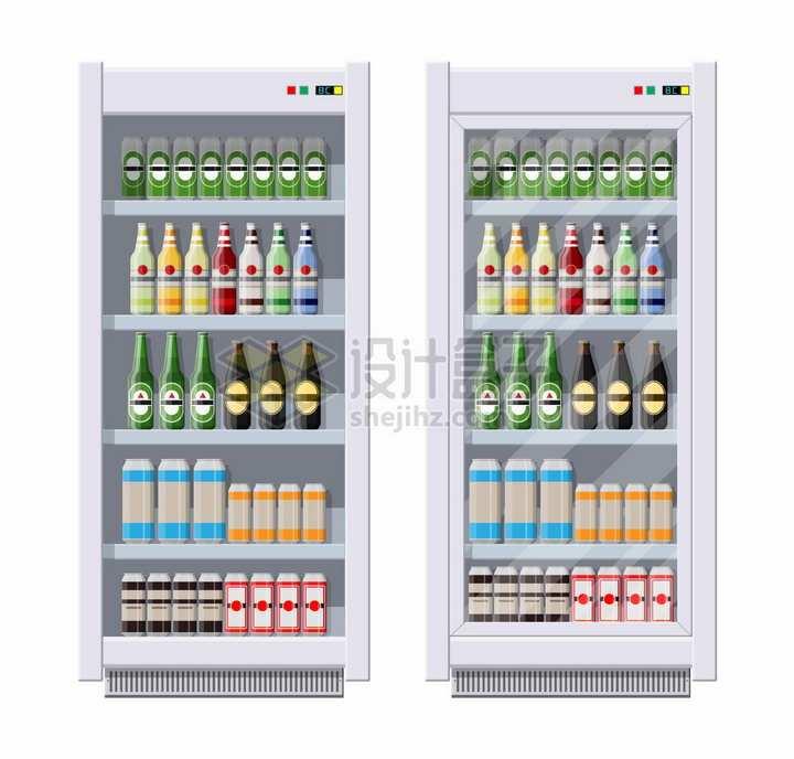 两款超市冷饮冷藏冰箱png图片素材