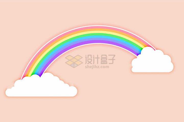 在卡通云朵上的七彩虹装饰png图片免抠矢量素材
