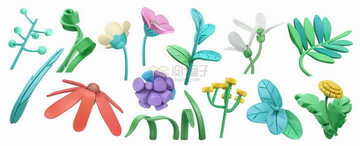 各种彩色橡皮泥捏成的树叶花朵鲜花等png图片免抠矢量素材