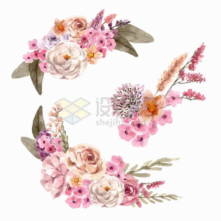 玫瑰花和各种小花组成的装饰水彩画花卉png图片免抠矢量素材