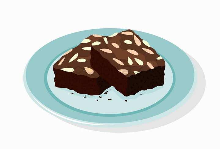 放在淡蓝色盘子中的巧克力瓜子仁布朗尼蛋糕美味西餐美食png图片免抠矢量素材