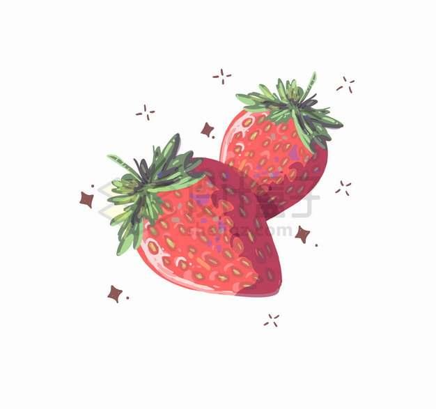 两颗草莓美味水果水彩插画png图片素材