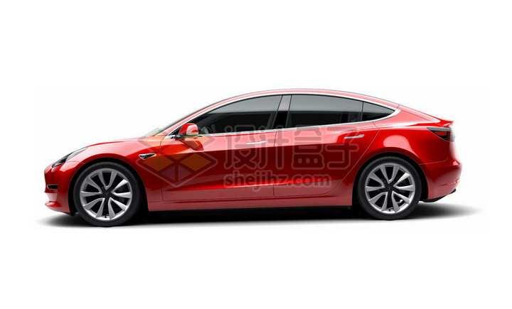 红色特斯拉Model 3电动汽车侧面图png图片素材