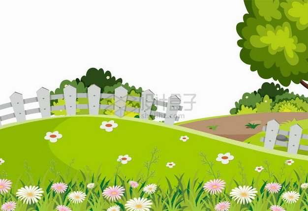 春天里乡村草地木栅栏和大树插画png图片免抠矢量素材