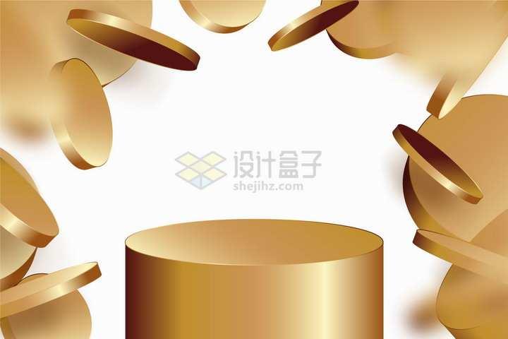3D金色圆柱形展台和掉落的金币背景图png图片免抠矢量素材
