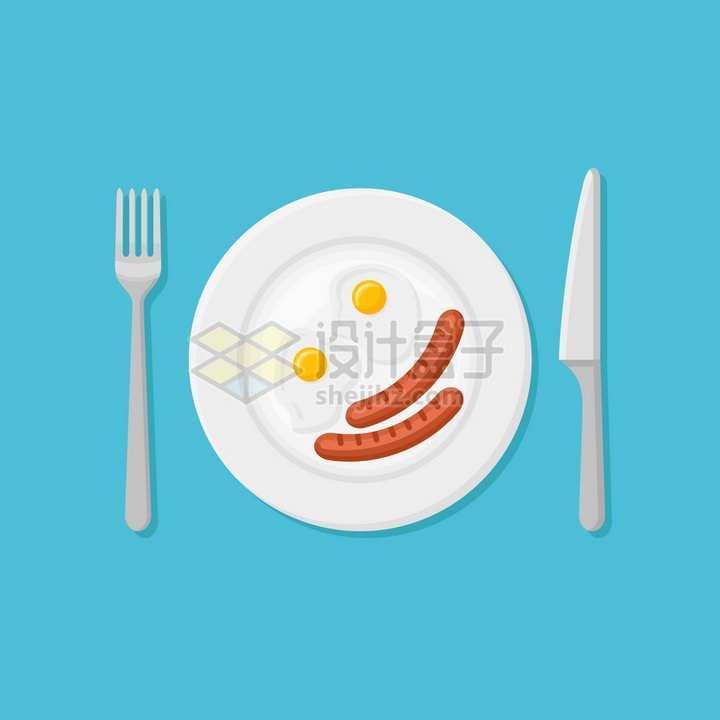 俯视视角盘子中的香肠和煎蛋刀叉png图片素材