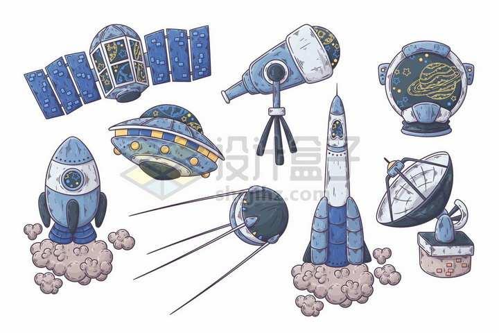 卡通人造卫星火箭飞碟天文望远镜等天文探测设备png图片免抠矢量素材