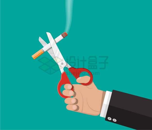 一只手用剪刀剪断香烟戒烟吸烟有害健康禁止吸烟png图片素材