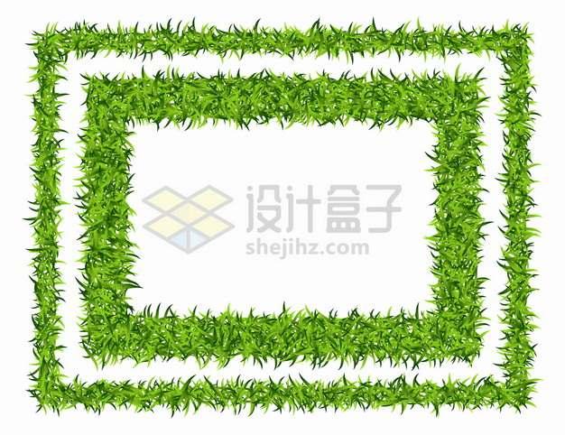 回字形边框绿色青草草坪组成png图片素材