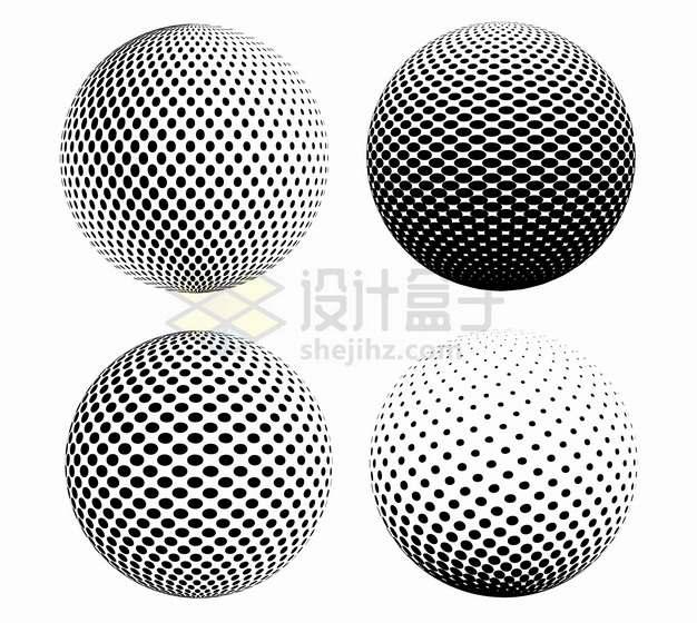 4款黑色圆点组成的抽象圆球图案323264png图片素材