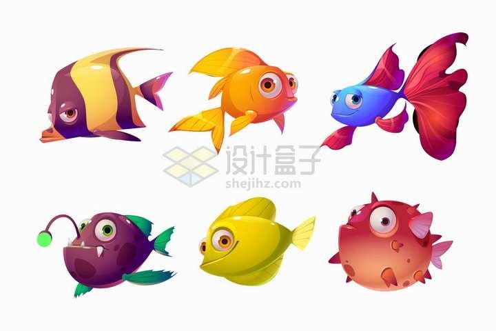 金鱼安康鱼河豚等鱼儿卡通动物png图片免抠矢量素材