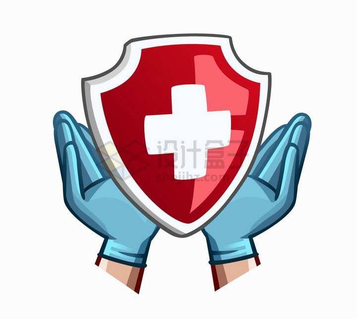 戴手套的双手捧起卡通红十字防护盾图案png图片免抠矢量素材