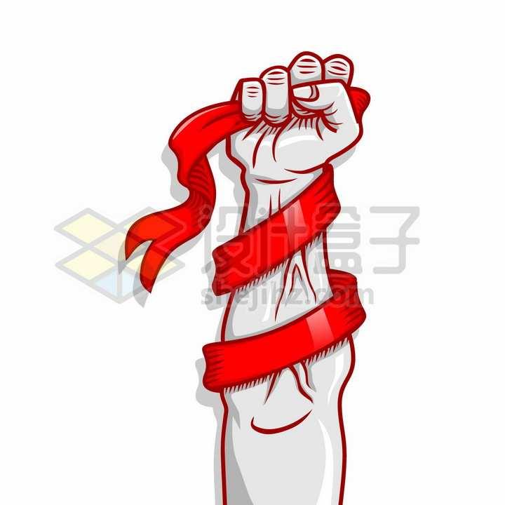 漫画风格有力的拳头紧握着红色丝带象征了五一劳动节png图片免抠矢量素材
