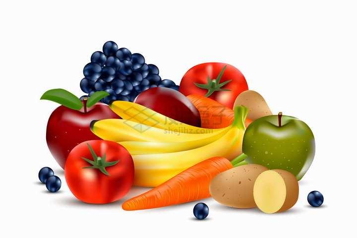 一堆西红柿苹果葡萄胡萝卜土豆香蕉等美味蔬菜水果png图片免抠矢量素材