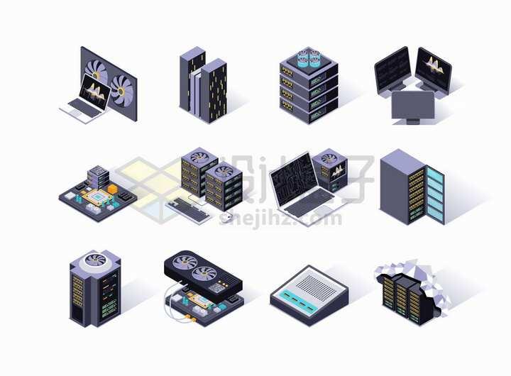 2.5D风格笔记本电脑云服务器云计算技术主板等png图片免抠矢量素材
