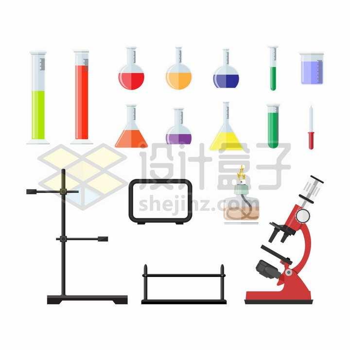 量筒烧瓶试管量杯滴管酒精灯架显微镜等实验仪器png图片免抠矢量素材