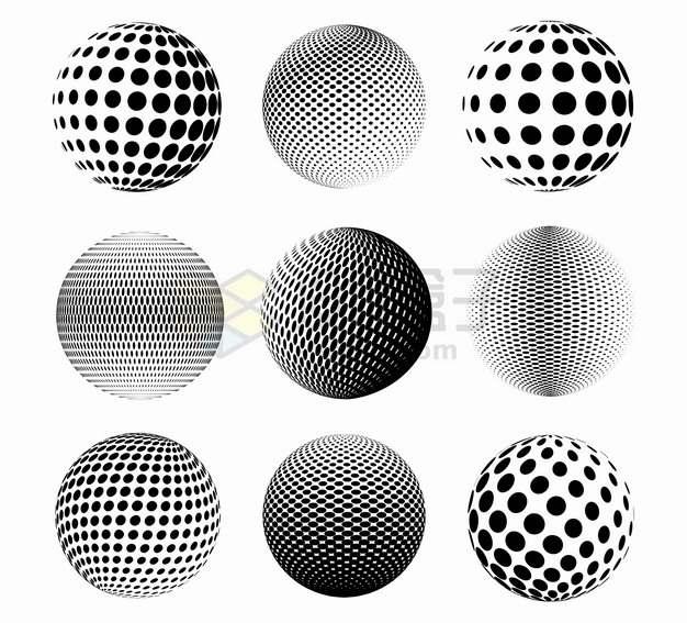 9款黑色圆点组成的抽象圆球图案393545png图片素材