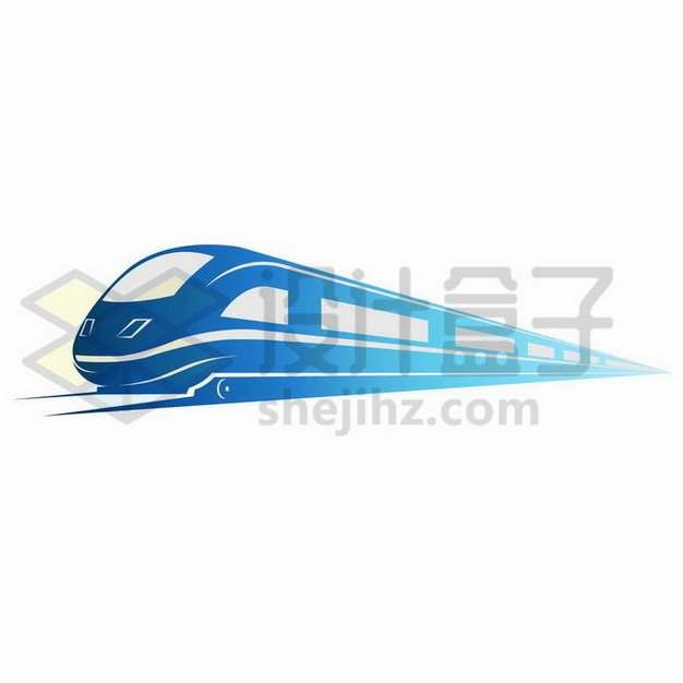 蓝色的高铁图案png图片免抠矢量素材