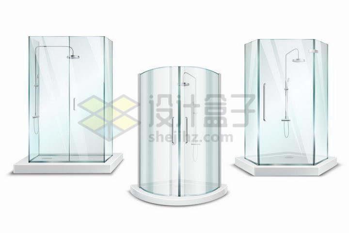3款半透明淡蓝色玻璃的淋浴间png图片免抠矢量素材