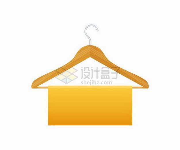 木制衣架上的橙色文本框标题框png图片免抠矢量素材