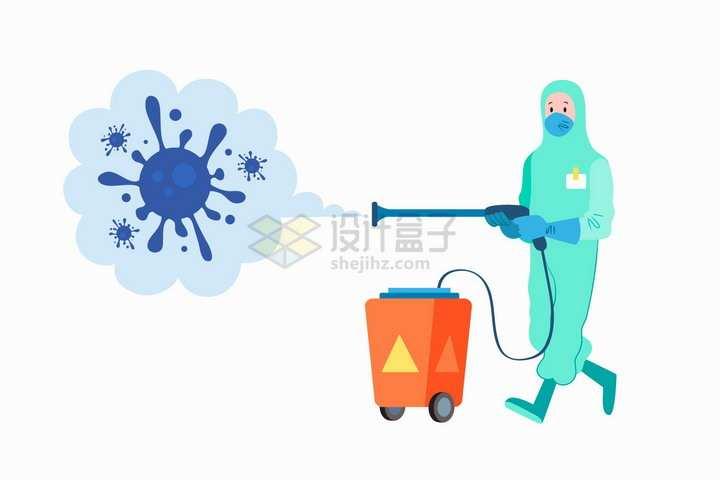 防护服卡通医护人员消毒新型冠状病毒扁平插画png图片免抠矢量素材