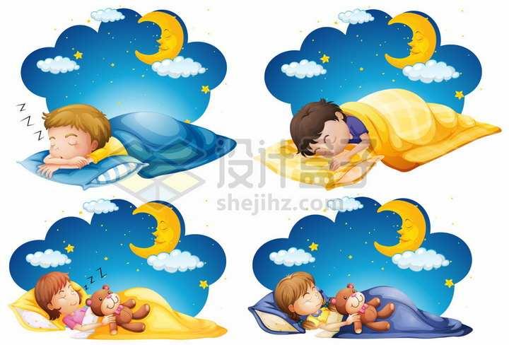 卡通夜空月亮下睡觉的孩子手绘卡通插画png图片免抠矢量素材