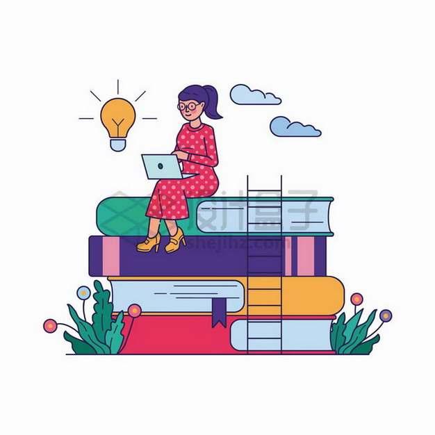 手绘女孩坐在高高的书本上世界读书日手绘插画png图片免抠矢量素材
