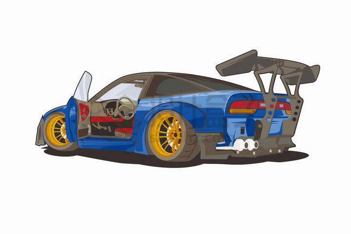 打开车门的蓝色赛车png图片免抠矢量素材