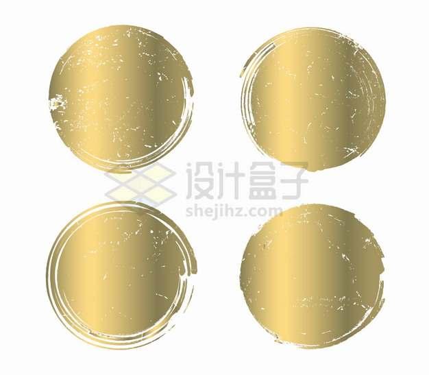 4款金色金属光泽涂鸦圆圈背景框png图片素材