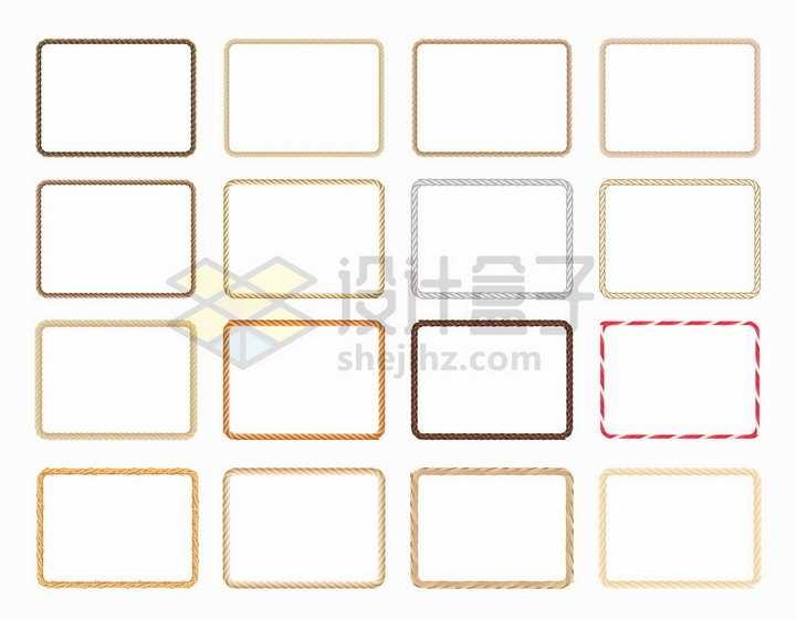 16款材质的绳子麻绳组成的方形边框对话框文本框标题框png图片免抠矢量素材